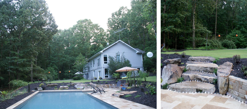 Pool Installation with Stone Stairs